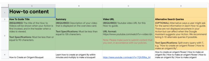 Как использовать Schema для создания Google Action