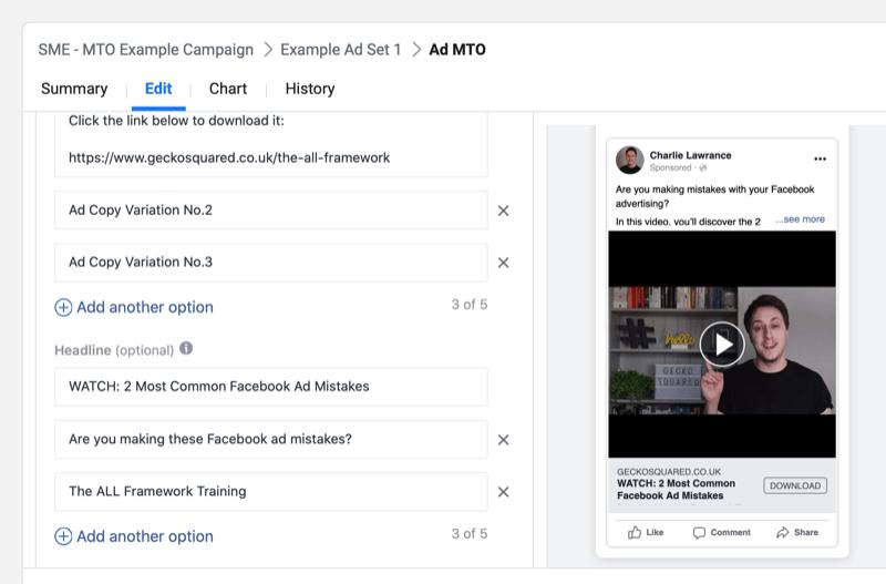 Как разрешить Facebook автоматически представлять лучший текст объявления